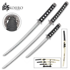 Kojiro Dragon Warrior Three-Piece Sword Set – 1045 Carbon Steel Display Blades, Cord-Wrapped Handles, Wooden Scabbards