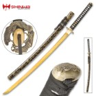 Shinwa Firefly Handmade Katana / Samurai Sword - 1045 Carbon Steel - Faux Ray Skin - Dueling Dragon / Serpent Tsuba - Hardwood Saya, Black-and-Gold Spatter Pattern