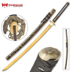 Shinwa Firefly Handmade Katana / Samurai Sword - 1045 Carbon Steel - Faux Ray Skin - Dueling Dragon / Serpent Tsuba - Hardwood Saya, Black-and-Gold Spatter Pattern