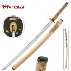 Shinwa Inari Katana with Natural Wooden Scabbard, Sword Bag - Full Tang 1045 High Carbon Steel