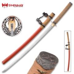 Shinwa Provenance Handmade Tachi / Samurai Sword - Hand Forged Damascus Steel - Historical Katana Predecessor - Traditional Wooden Saya - Cleaning Kit - Functional, Battle Ready, Full Tang