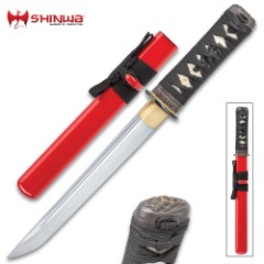 Scarlett Shinwa Hand-Forged Tanto Knife With Scabbard - Carbon Steel Blade, Cord-Wrapped Handle, Faux Rayskin - Length 15""