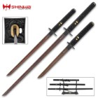 Shinwa Black Knight 3-Piece Sword Set - Handmade Katana, Wakizashi, Tanto; Wooden Display Stand - Hand Forged Black Damascus Steel; Razor Sharp, Full Tang - Faux Ray Skin; Dragon Tsuba - Battle Ready