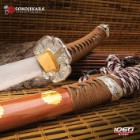 Sokojikara Natsukashii Handmade Tachi / Samurai Sword - Clay Tempered 1045 Carbon Steel, Hand Forged - Historical Katana Predecessor - Brown Saya - Fully Functional, Battle Ready, Full Tang - 41""