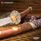 "Sokojikara Natsukashii Handmade Tachi / Samurai Sword - Clay Tempered 1045 Carbon Steel, Hand Forged - Historical Katana Predecessor - Brown Saya - Fully Functional, Battle Ready, Full Tang - 41"""
