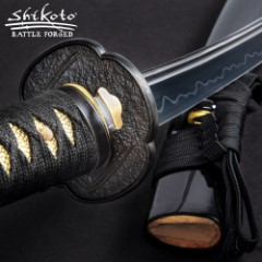 Shikoto Touchstone Handmade Wakizashi / Samurai Sword - Hand Forged Clay Tempered T10 High Carbon Steel - Ray Skin; Iron Tsuba; Certificate of Authenticity - Functional, Full Tang, Battle Ready