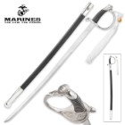 USMC Ceremonial Saber Sword With Scabbard - Stainless Steel Embossed Blade, Faux Leather Scabbard, Officially Licensed - Length 35""
