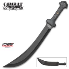 Combat Commander Thrax Gladius / Gladiator Sword - 1065 High Carbon Steel, Black - Rubberized TPR - Heavy Duty Nylon Belt Sheath - Modern Tactical Take on Ancient Roman / Thracian Sica - 24""