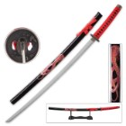 Black and Red Cobra Katana with Display Stand