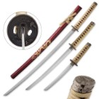 Three-Piece Full Regalia Golden Dragon Katana Set