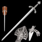 """Tomahawk Display Sword with Wooden Plaque Mount - Mirror Polished Stainless Steel, Display Edge - Middle Ages Medieval Longsword; Knight; King Royal Insignia; Lion Head Crossguard - 46"""""""