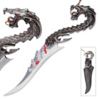 Screaming Red Dragon Fantasy Knife with Sheath