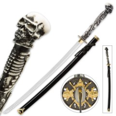 """Something Wicked"" Skull and Bones Fantasy Katana Sword with Scabbard"