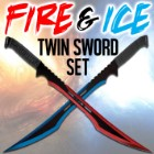 Fire and Ice Twin Sword Set with Black Nylon Double Sheath