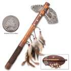 """Eagle Tomahawk With Wooden Display Plaque – Aluminum Alloy Tomahawk Head, Pakkawood Shaft, Feather And Beads Accent – Length 17"""""""