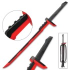 "League Of Legends Red And Black Sword And Sheath - Stainless Steel Two-Toned Blade, Metal And Plastic Handle - 39"" Length"