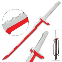 """League Of Legends Red And Silver Sword And Sheath – Stainless Steel Two-Toned Blade, Metal And Plastic Handle – 39"""" Length"""