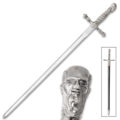 """Dark Assassin Broad Sword With Scabbard - Stainless Steel Blade, Metal Alloy And TPU Handle And Accent - Length 37 1/2"""""""