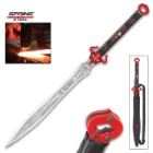 Crimson Fighting Bull Sword And Sheath - Spring Steel Blade, Leather-Wrapped Handle, Metal Guard, Open Pommel - Length 32 1/2""