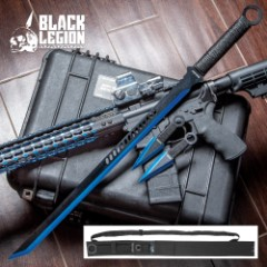 "Black Legion Three-Piece Blue Sword and Throwing Knife Set With Nylon Sheath - Rope-Wrapped Handles, Ring Pommels - 28"" Sword - 6"" Throwing Knives"