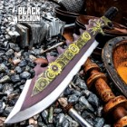 """Black Legion Aether Master Steamer Sword With Sheath - Stainless Steel Construction, Non-Reflective Coating, Raised Design - Length 24"""""""