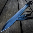 Blue Ninja Samurai Machete Sword And Kunai Set - Full-Tang, Throwing Knives, Stainless Steel Construction