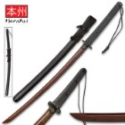 "Honshu Evenfall Handmade Wakizashi / Samurai Sword - Exclusive Black Damascus Steel - Modern Tactical Ninja Style - ABS Handle, Checkered Grip, Paracord Lanyard - Saya / Scabbard - Full Tang - 31 1/2"""