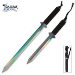 Full Tang Ti-Coated Rainbow Sword Set & Sheath