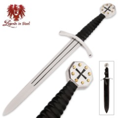 Medieval Crusader Dagger Carbon With Sheath