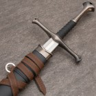"Middle Ages Warrior Short Broadsword With Black Sheath - Double-Edged Sharp Blade - 22 1/2"" Length"