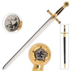Medieval / Masonic Sword of Destiny with Scabbard - Black