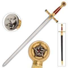 Medieval / Masonic Sword of Destiny with Scabbard - Red