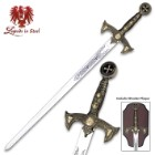 Legends In Steel Knights Templar Long Sword and Wall Plaque