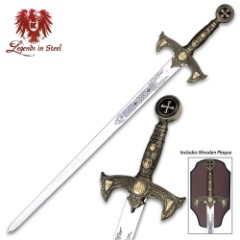 Templar Knight Long Sword with Wall Plaque