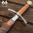 "Middle Ages Medieval Broad Sword And Matching Faux Brown Wood Scabbard With Faux Leather Wrapping - 17"" stainless steel blade"