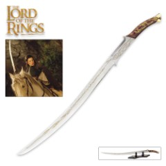 "The Lord of the Rings Hadhafang Sword Of Arwen Evenstar With Display Stand - Blade Has Elven Runes - 38 1/8"" Length"
