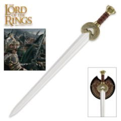 "Lord of the Rings Herrugrim Sword Of King Theoden Of Rohan With Display Plaque - Brass-Plated Guard And Pommel - 27 1/2"" Length"