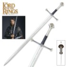 "United Cutlery Lord of the Rings LOTR Anduril Sword of King Elessar with Wall Plaque - 40 5/8"" Length, The Hobbit"