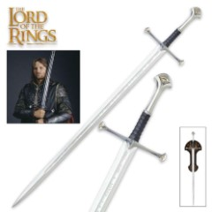 "United Cutlery Lord of the Rings LOTR Anduril Sword of King Ellesar with Wall Plaque - 40 5/8"" Length, The Hobbit"