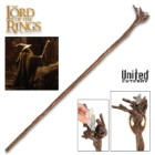 LOTR Illuminated Moria Staff Of Gandalf And Display Plaque - Polyresin Construction, Hand-Painted Details, Removable LED Light - Length 66""