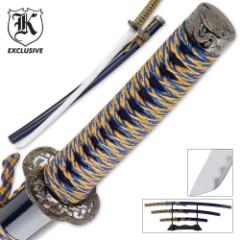 3 Pc. Golden Tiger Sapphire Katana Samurai Sword Set