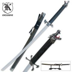 Screaming Dragon Samurai Sword with Stand