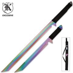 Viper Twin Rainbow Sword Set With Sheath