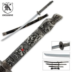 3 Pc. Dragon Conqueror Samurai Sword Set & Display Stand