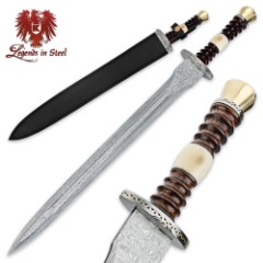 Legends In Steel Renaissance Heartwood and Bone Damascus Sword