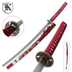 Maroon Katana with Gold Flying Dragon Scabbard