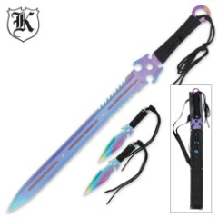 Ninja Guardian Three Pc. Sword & Throwing Knife Set With Sheath