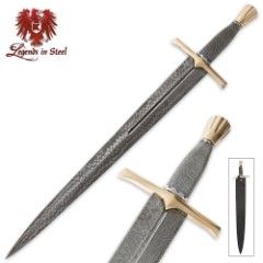 Legends In Steel Medieval Wire Wrapped & Damascus Steel Sword