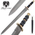 Legends In Steel Damascus & Blue Cherry Wood Sword