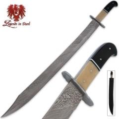 Legends In Steel Genuine Bone & Buffalo Horn Damascus Scimitar Sword